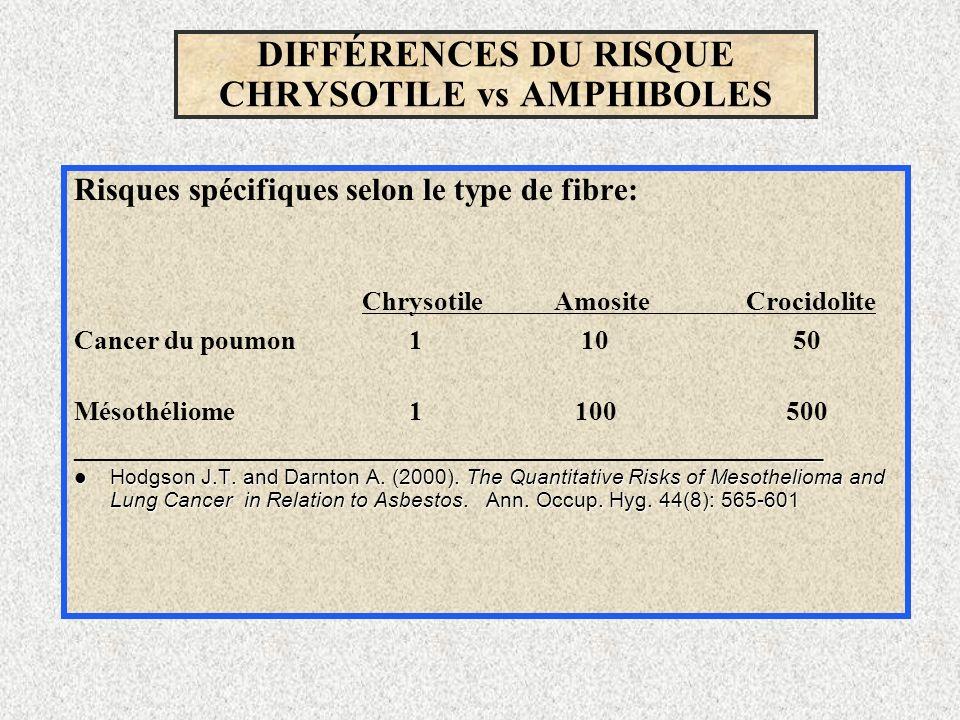 DIFFÉRENCES DU RISQUE CHRYSOTILE vs AMPHIBOLES