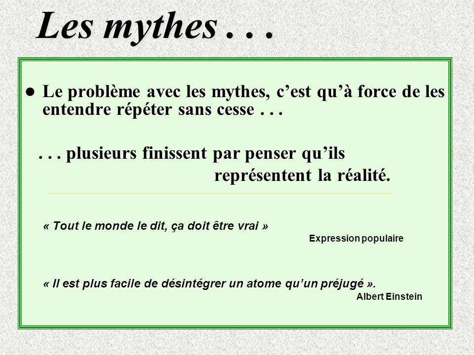 Les mythes . . . Le problème avec les mythes, c'est qu'à force de les entendre répéter sans cesse . . .