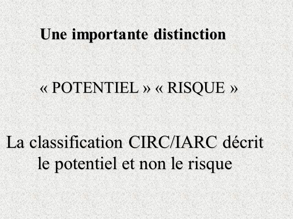 La classification CIRC/IARC décrit le potentiel et non le risque