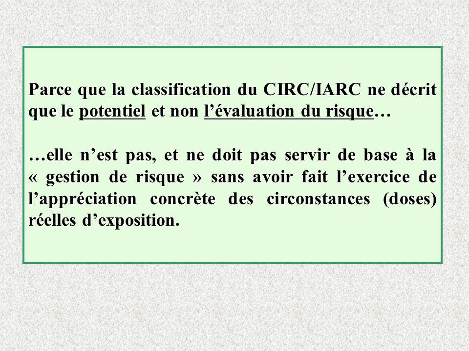 Parce que la classification du CIRC/IARC ne décrit que le potentiel et non l'évaluation du risque…