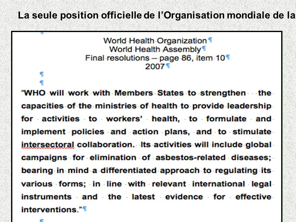 La seule position officielle de l'Organisation mondiale de la santé