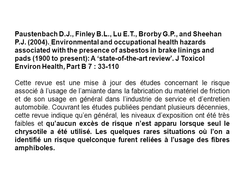 Paustenbach D. J. , Finley B. L. , Lu E. T. , Brorby G. P