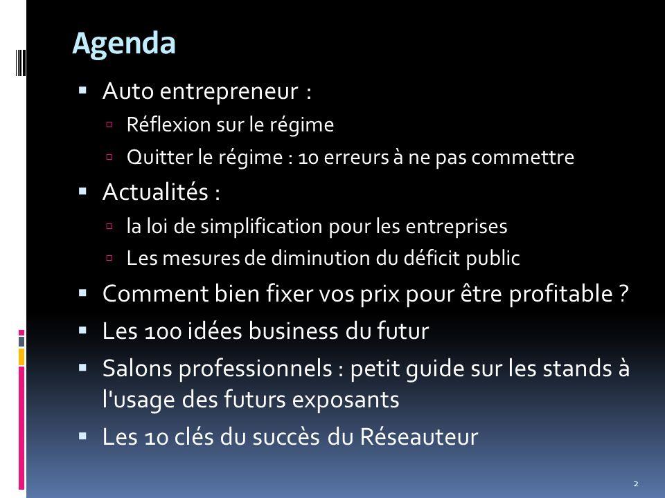 Agenda Auto entrepreneur : Actualités :
