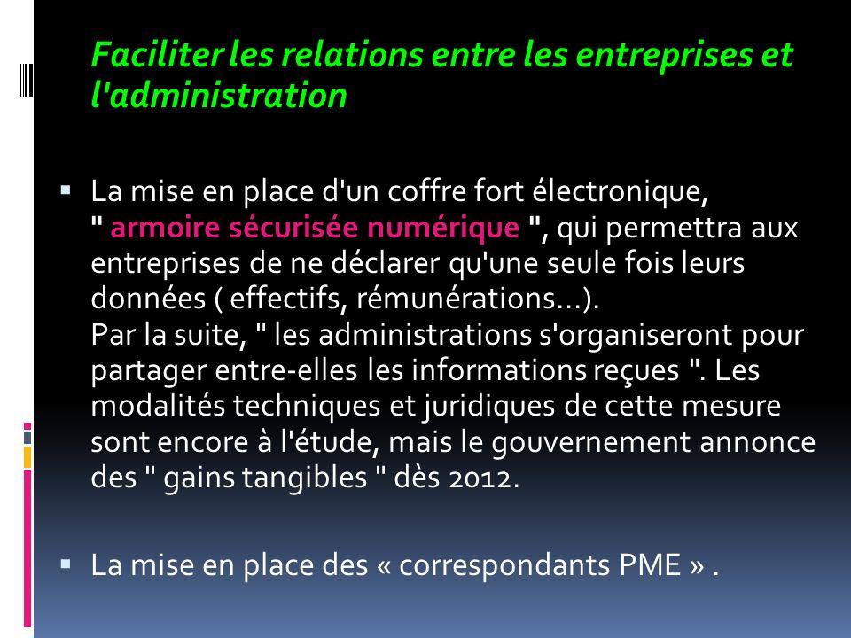 Faciliter les relations entre les entreprises et l administration