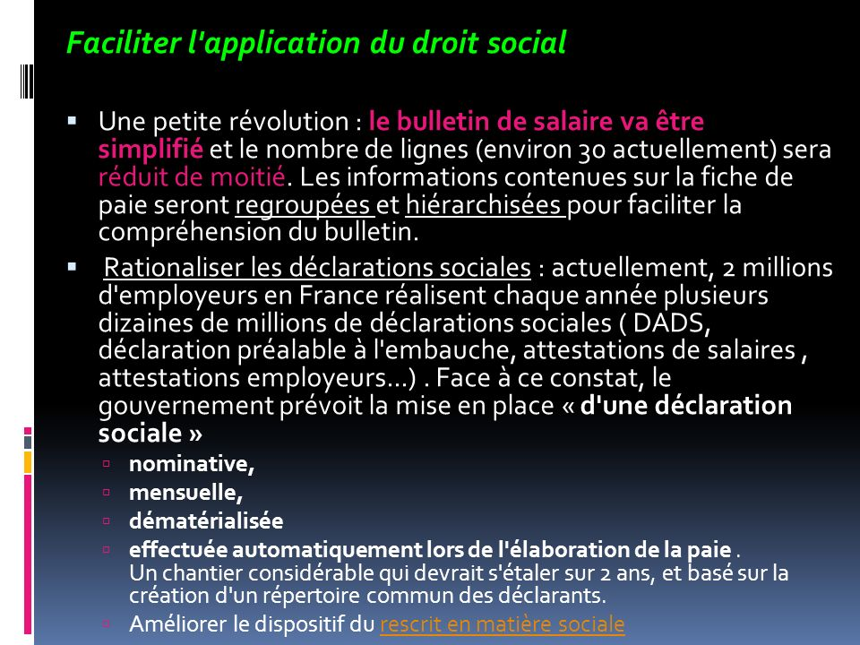 Faciliter l application du droit social
