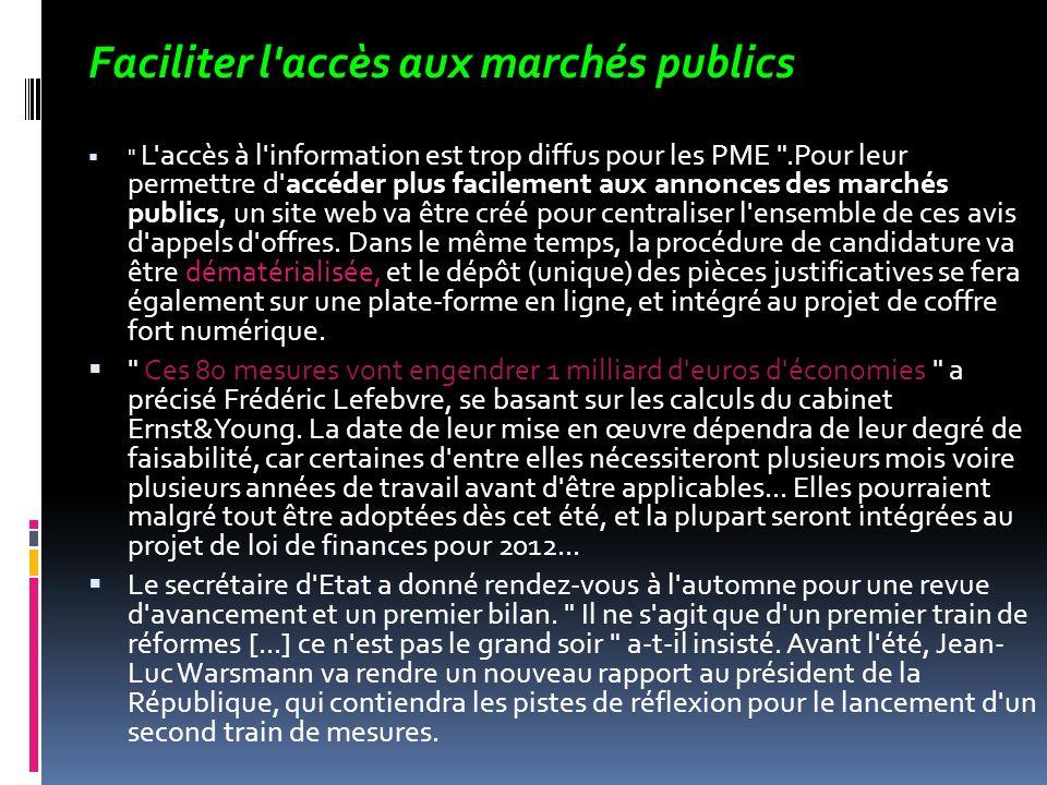 Faciliter l accès aux marchés publics