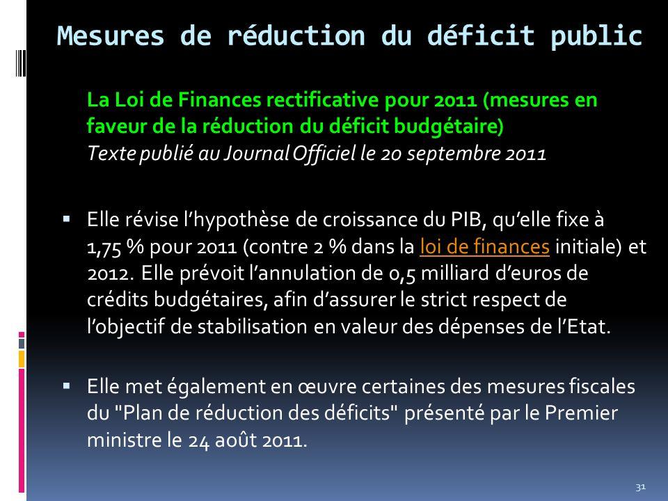 Mesures de réduction du déficit public
