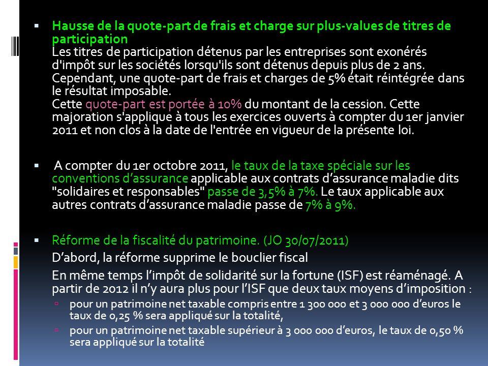 Réforme de la fiscalité du patrimoine. (JO 30/07/2011)