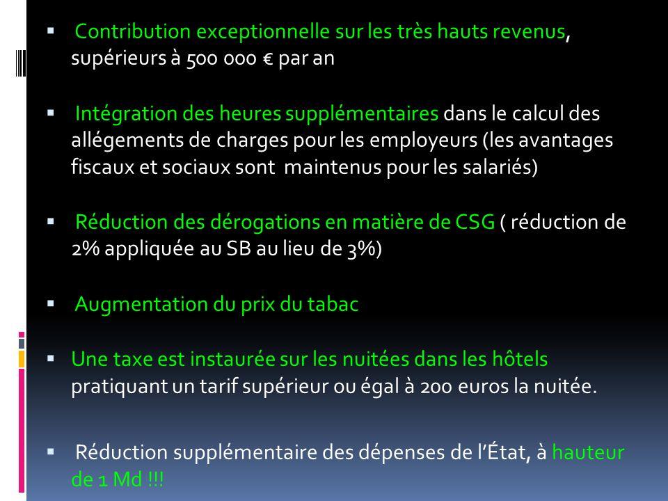 Contribution exceptionnelle sur les très hauts revenus, supérieurs à 500 000 € par an