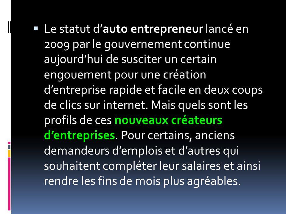 Le statut d'auto entrepreneur lancé en 2009 par le gouvernement continue aujourd'hui de susciter un certain engouement pour une création d'entreprise rapide et facile en deux coups de clics sur internet.