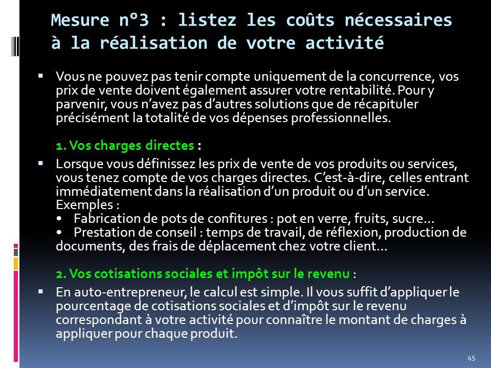 Mesure n°3 : listez les coûts nécessaires à la réalisation de votre activité