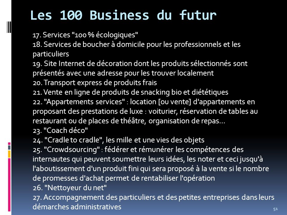 Les 100 Business du futur