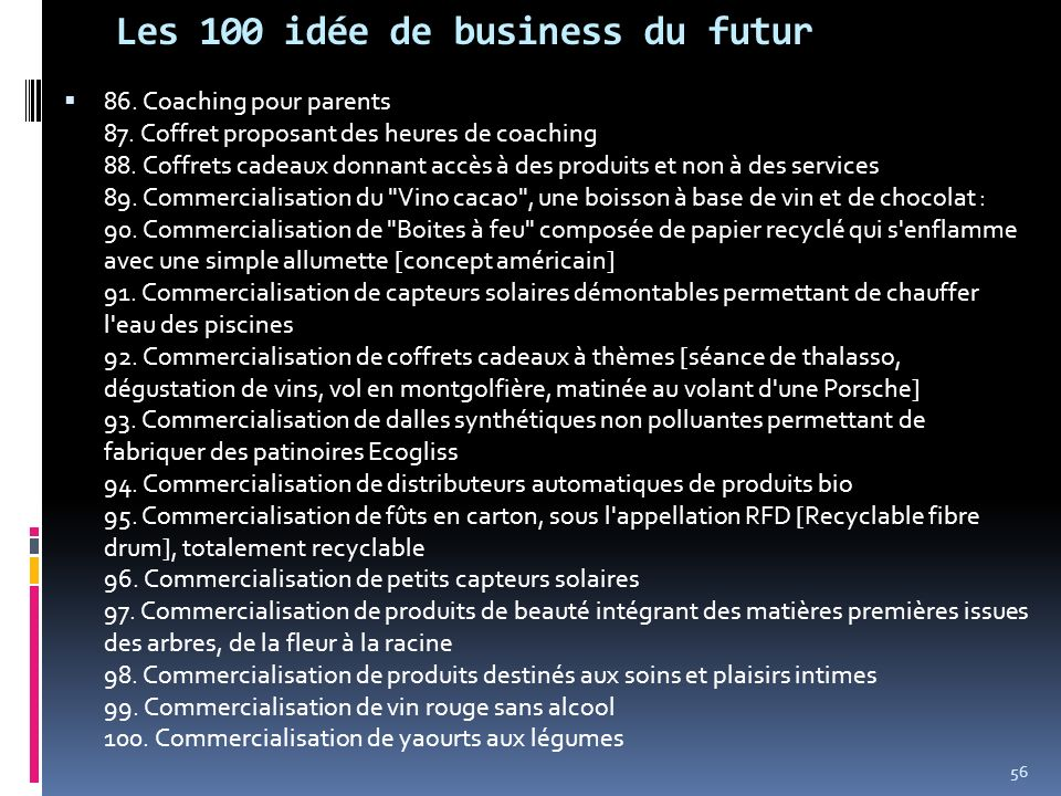 Les 100 idée de business du futur
