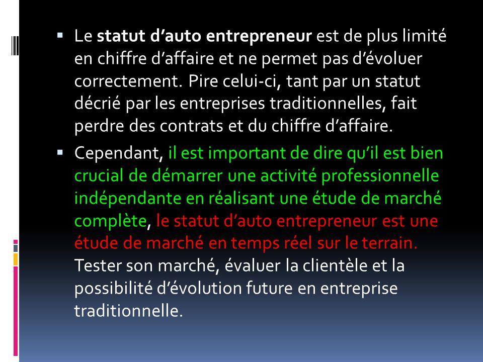 Le statut d'auto entrepreneur est de plus limité en chiffre d'affaire et ne permet pas d'évoluer correctement. Pire celui-ci, tant par un statut décrié par les entreprises traditionnelles, fait perdre des contrats et du chiffre d'affaire.