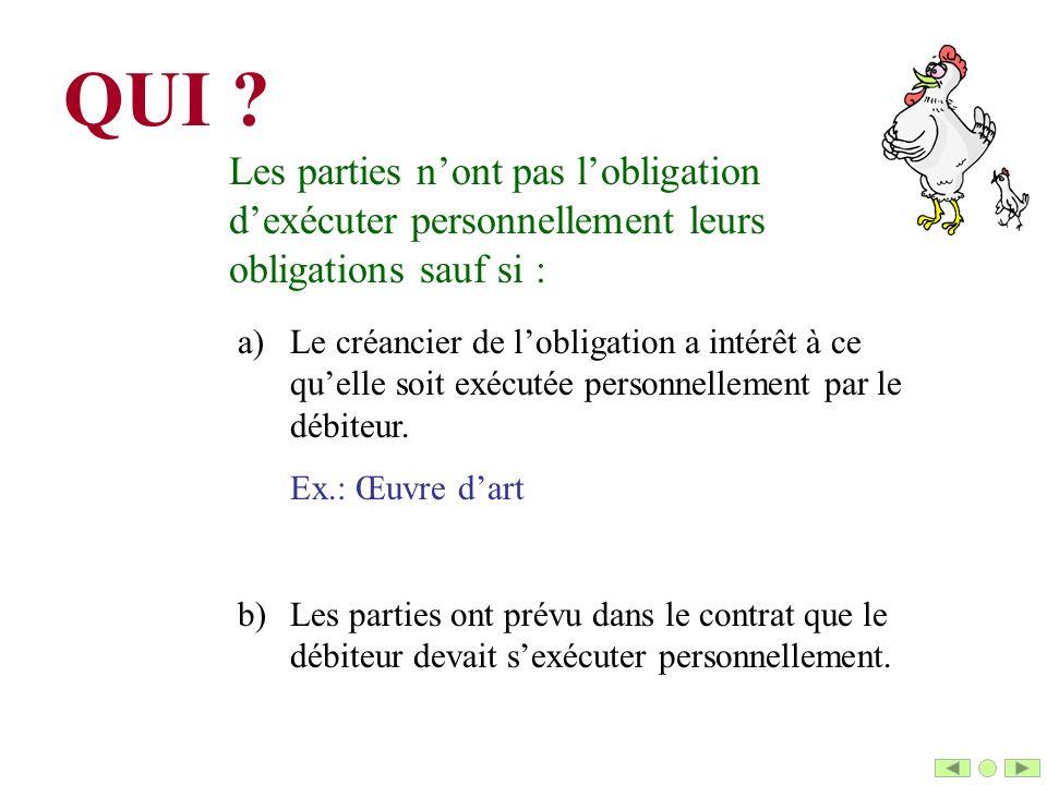 QUI Les parties n'ont pas l'obligation d'exécuter personnellement leurs obligations sauf si :