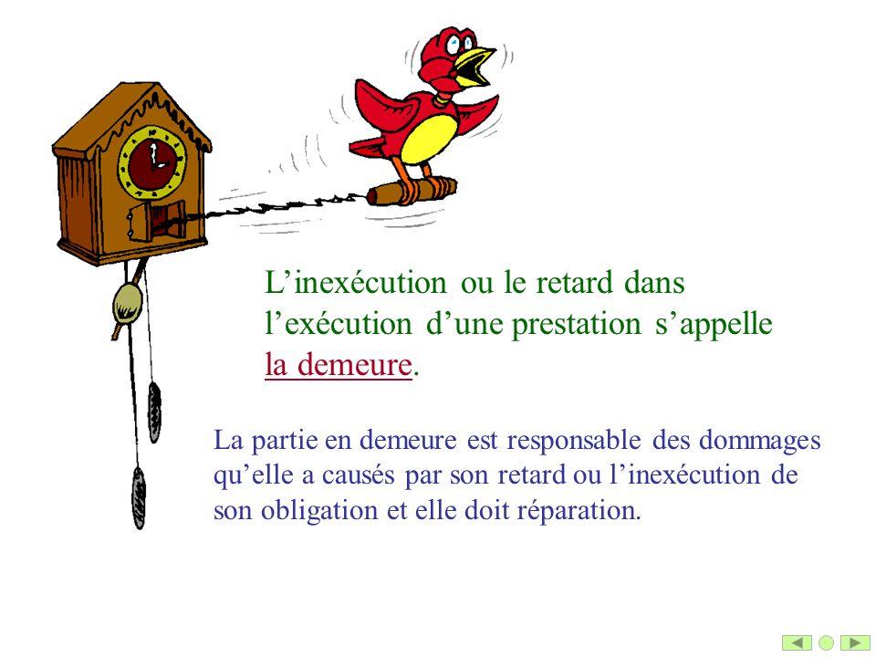 L'inexécution ou le retard dans l'exécution d'une prestation s'appelle la demeure.