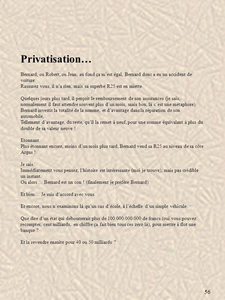 Privatisation… Bernard, ou Robert, ou Jean, au fond ça m'est égal, Bernard donc a eu un accident de voiture.