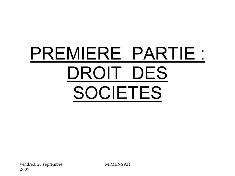 PREMIERE PARTIE : DROIT DES SOCIETES