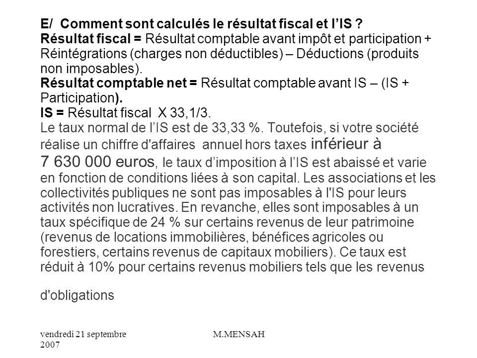 E/ Comment sont calculés le résultat fiscal et l'IS