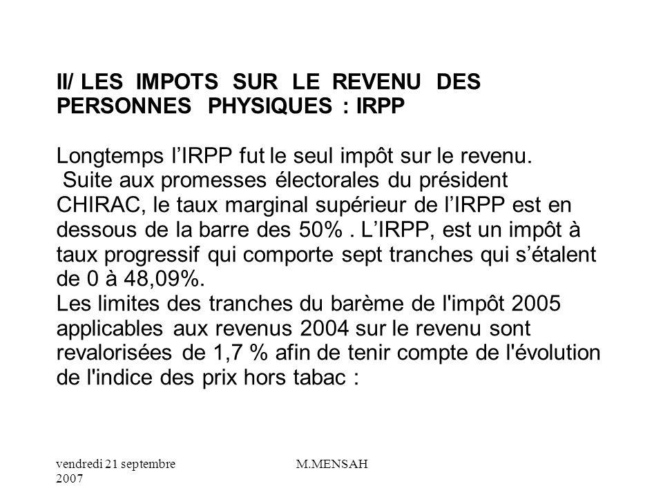 II/ LES IMPOTS SUR LE REVENU DES PERSONNES PHYSIQUES : IRPP Longtemps l'IRPP fut le seul impôt sur le revenu.