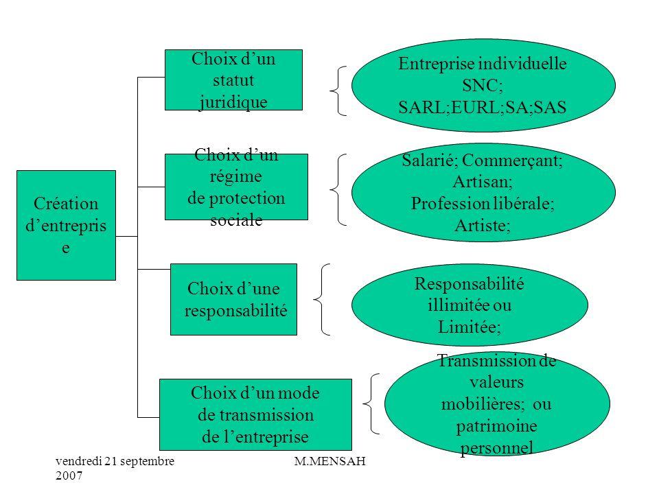Entreprise individuelle SNC; SARL;EURL;SA;SAS Choix d'un statut