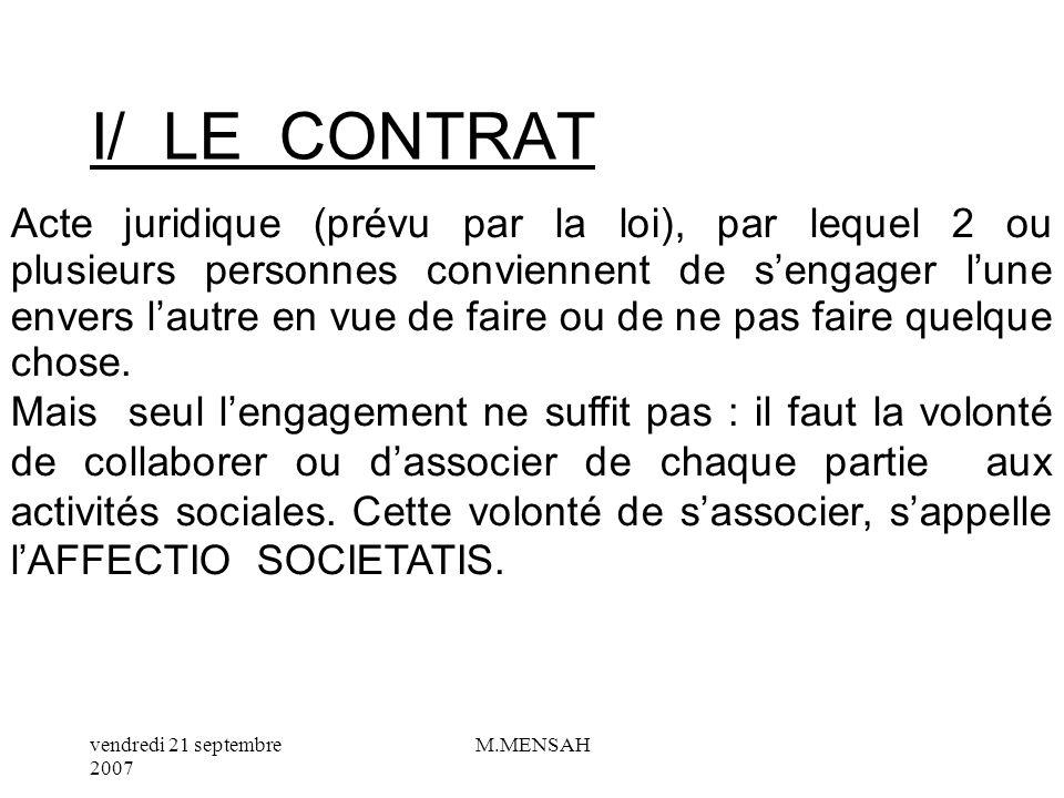 I/ LE CONTRAT