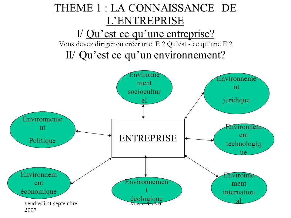 THEME 1 : LA CONNAISSANCE DE L'ENTREPRISE I/ Qu'est ce qu'une entreprise Vous devez diriger ou créer une E Qu'est - ce qu'une E II/ Qu'est ce qu'un environnement