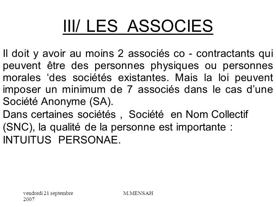 III/ LES ASSOCIES