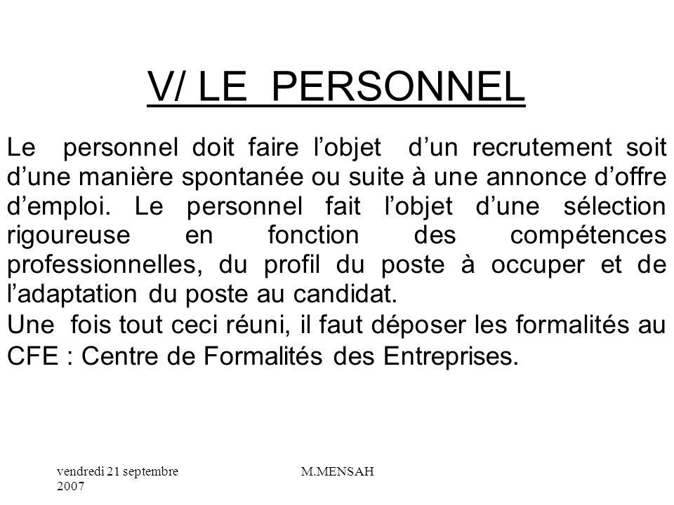 V/ LE PERSONNEL