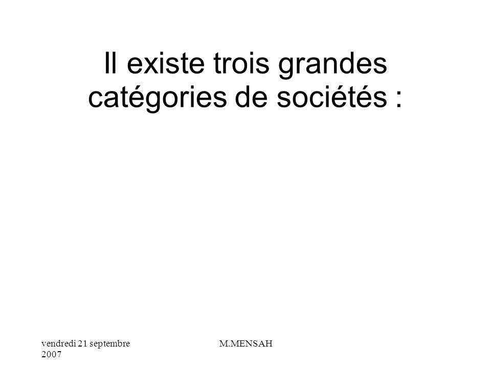 Il existe trois grandes catégories de sociétés :