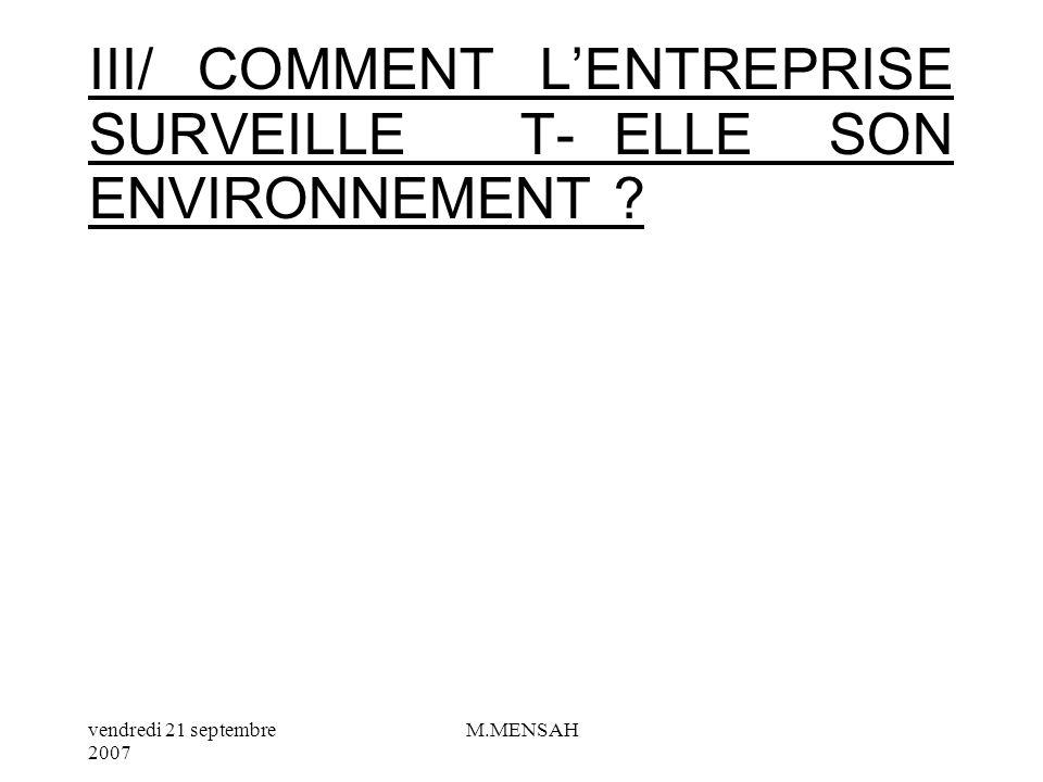 III/ COMMENT L'ENTREPRISE SURVEILLE T- ELLE SON ENVIRONNEMENT