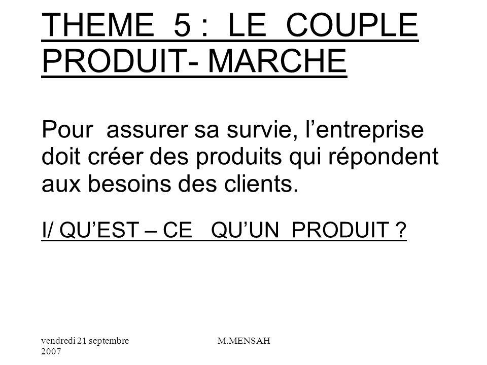 THEME 5 : LE COUPLE PRODUIT- MARCHE Pour assurer sa survie, l'entreprise doit créer des produits qui répondent aux besoins des clients.