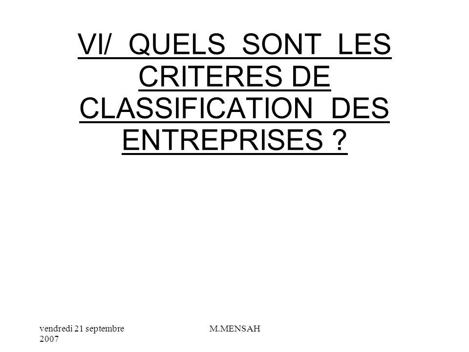 VI/ QUELS SONT LES CRITERES DE CLASSIFICATION DES ENTREPRISES
