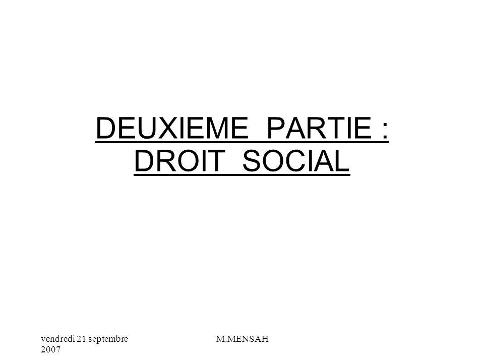 DEUXIEME PARTIE : DROIT SOCIAL
