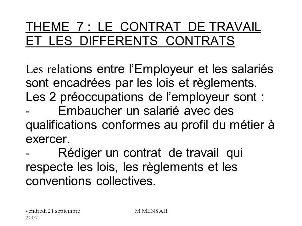THEME 7 : LE CONTRAT DE TRAVAIL ET LES DIFFERENTS CONTRATS Les relations entre l'Employeur et les salariés sont encadrées par les lois et règlements.