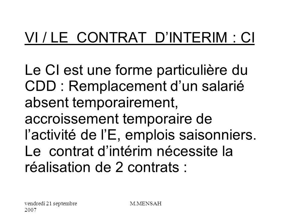 VI / LE CONTRAT D'INTERIM : CI Le CI est une forme particulière du CDD : Remplacement d'un salarié absent temporairement, accroissement temporaire de l'activité de l'E, emplois saisonniers.