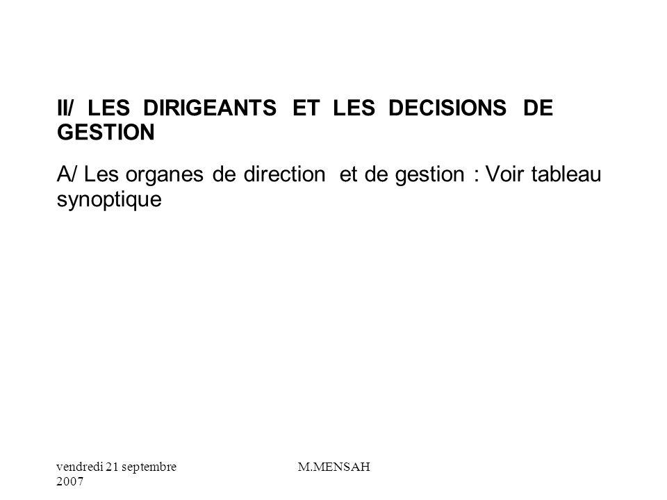 II/ LES DIRIGEANTS ET LES DECISIONS DE GESTION A/ Les organes de direction et de gestion : Voir tableau synoptique