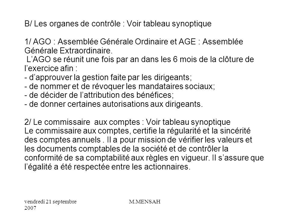 B/ Les organes de contrôle : Voir tableau synoptique 1/ AGO : Assemblée Générale Ordinaire et AGE : Assemblée Générale Extraordinaire.