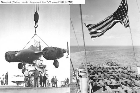 New-York (Statten Island), chargement d'un P-38 – Avril 1944 (USNA)