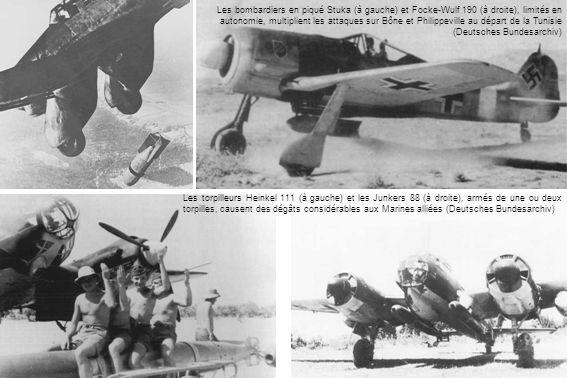 Les bombardiers en piqué Stuka (à gauche) et Focke-Wulf 190 (à droite), limités en autonomie, multiplient les attaques sur Bône et Philippeville au départ de la Tunisie