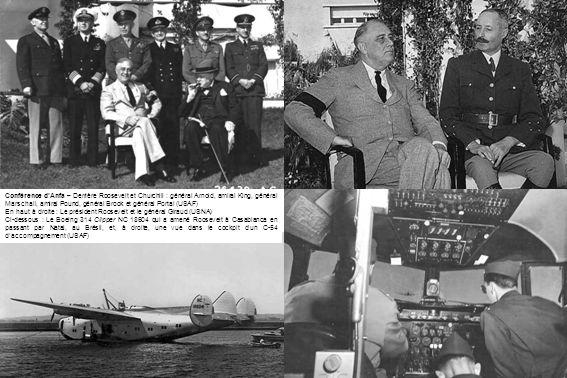 Conférence d'Anfa – Derrière Roosevelt et Churchill : général Arnold, amiral King, général Marschall, amiral Pound, général Brook et général Portal (USAF)