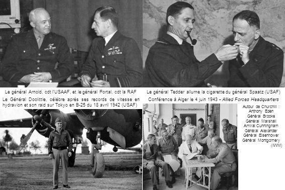 Le général Tedder allume la cigarette du général Spaatz (USAF)