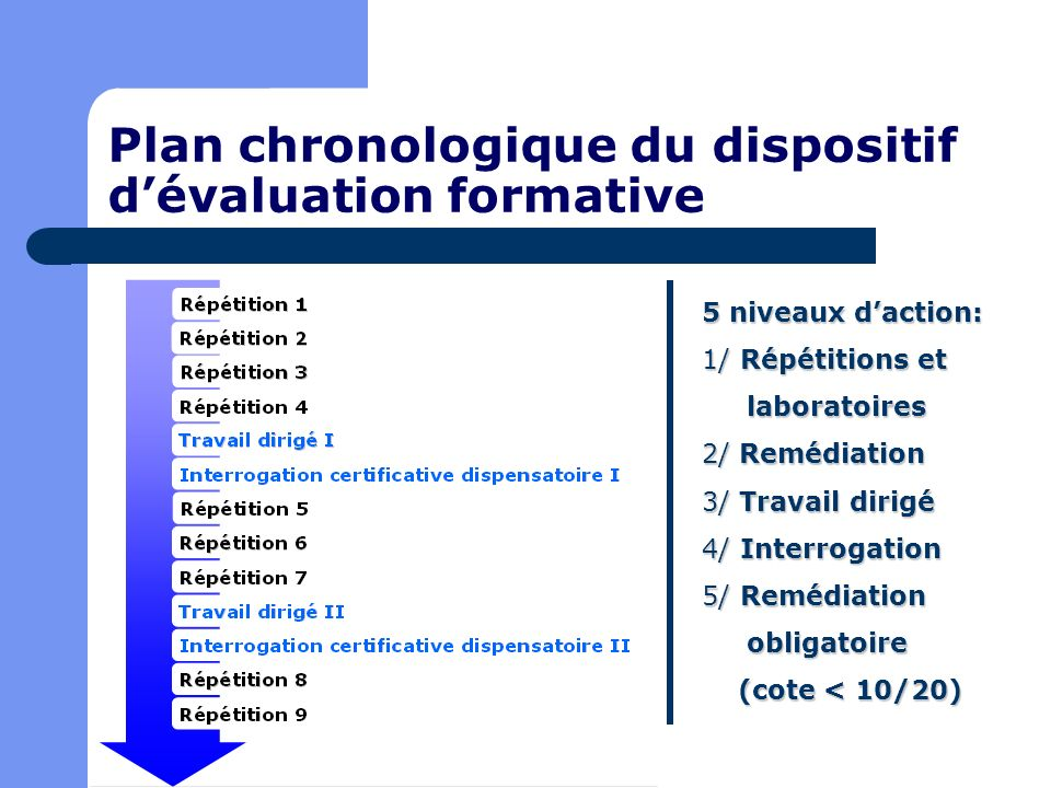Plan chronologique du dispositif d'évaluation formative