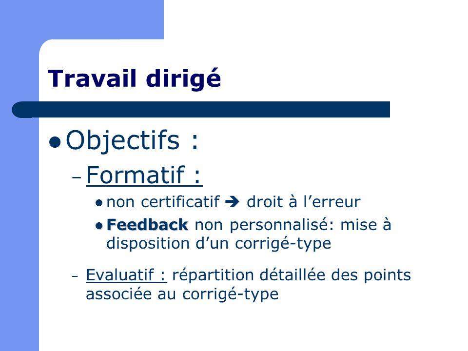 Objectifs : Travail dirigé Formatif :