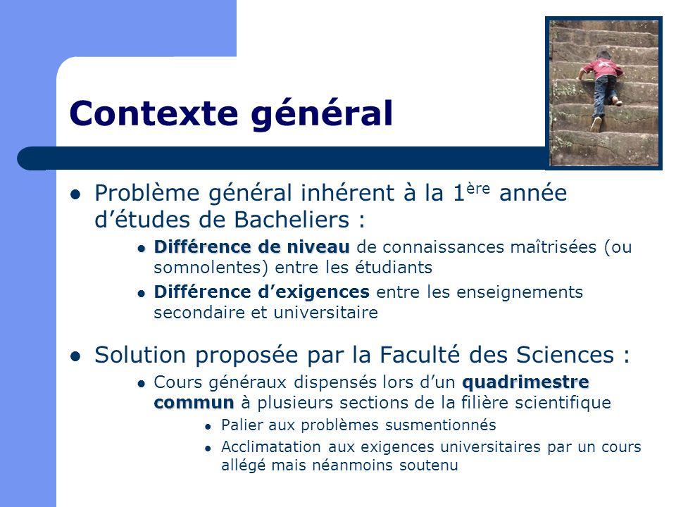 Contexte général Problème général inhérent à la 1ère année d'études de Bacheliers :