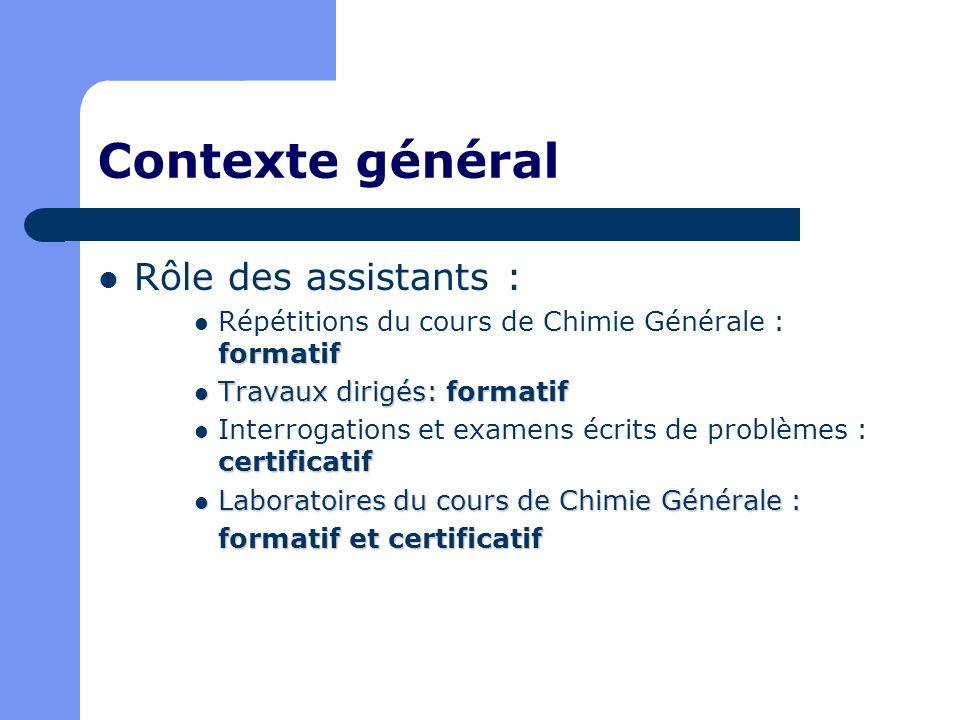 Contexte général Rôle des assistants :