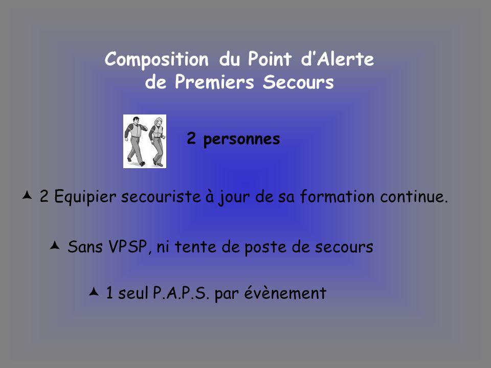 Composition du Point d'Alerte de Premiers Secours