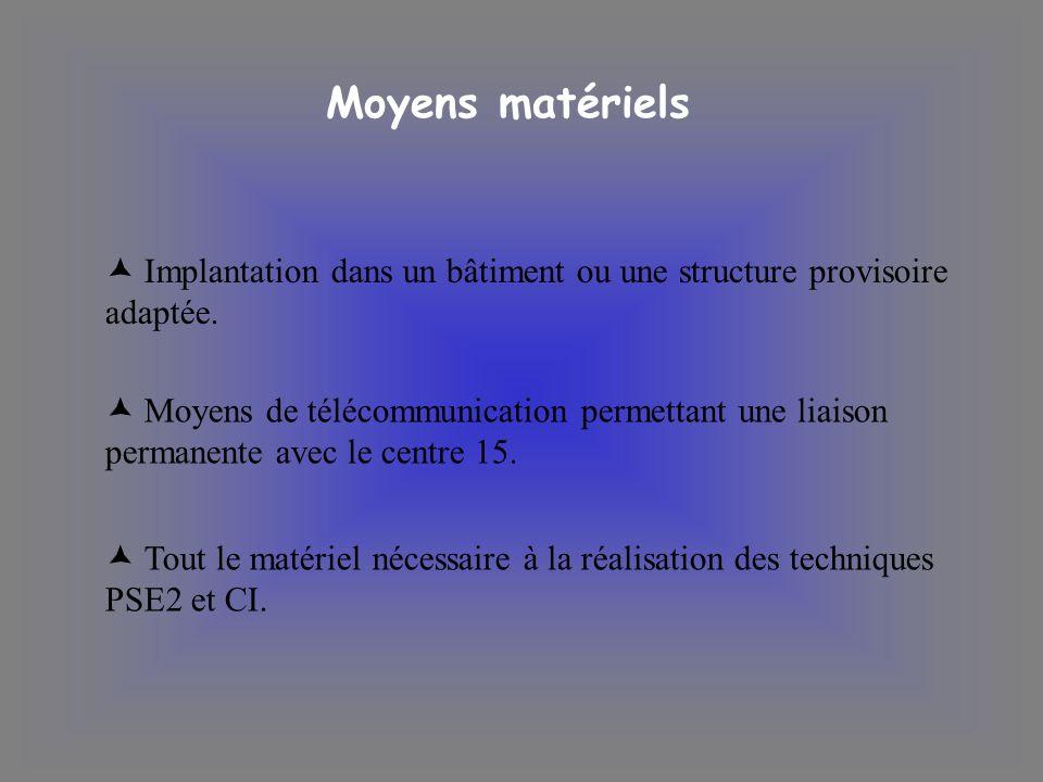 Moyens matériels Implantation dans un bâtiment ou une structure provisoire adaptée.