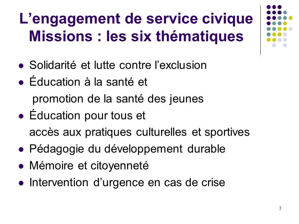 L'engagement de service civique Missions : les six thématiques