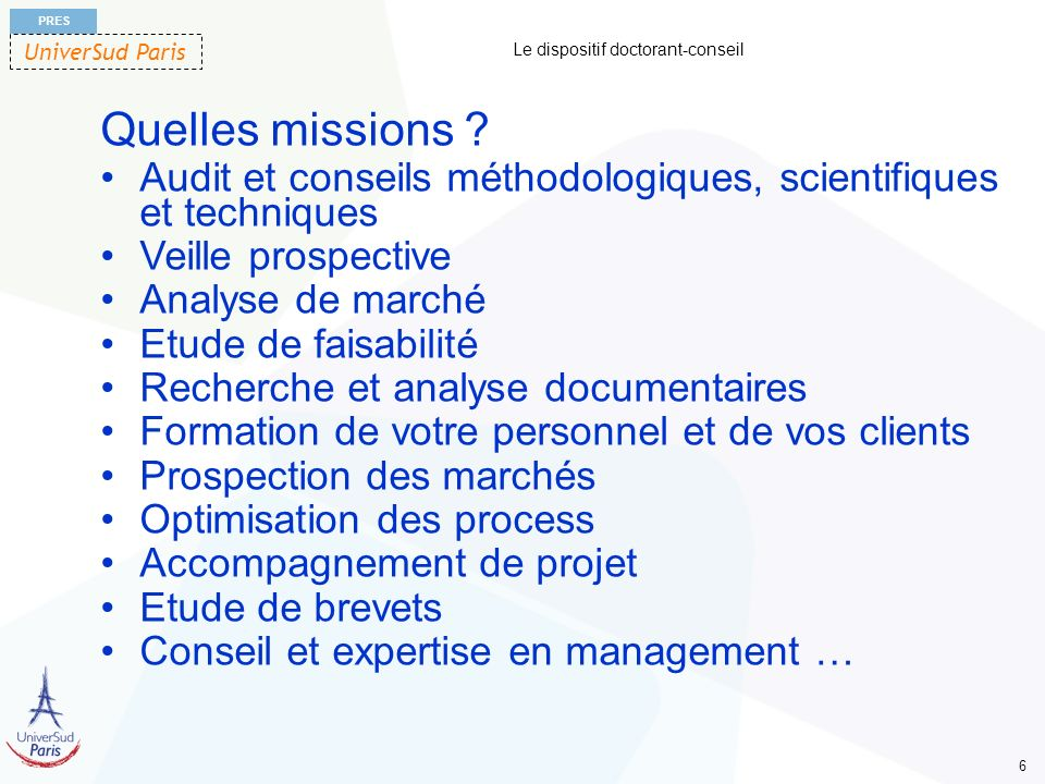 Le dispositif doctorant-conseil